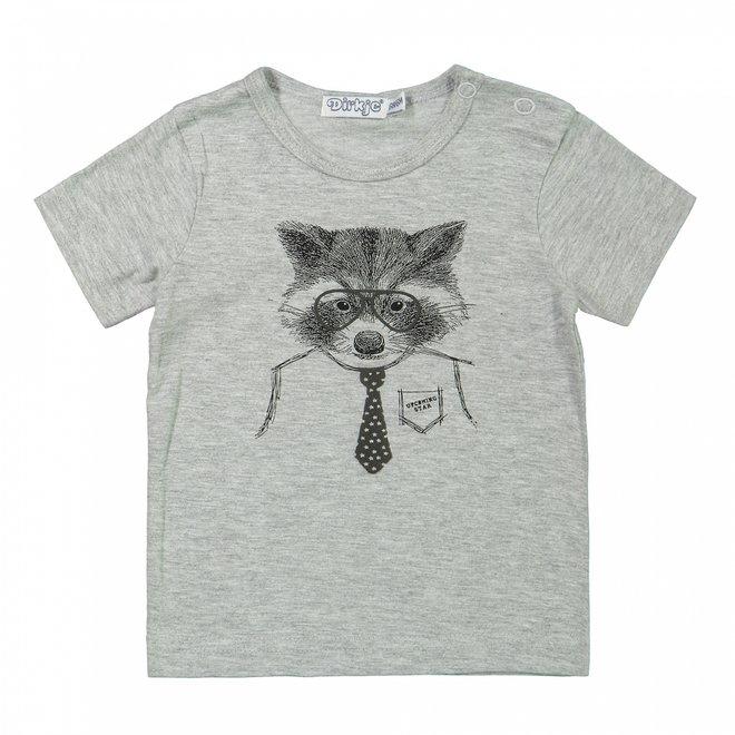 Dirkje boys baby T-shirt grey raccoon