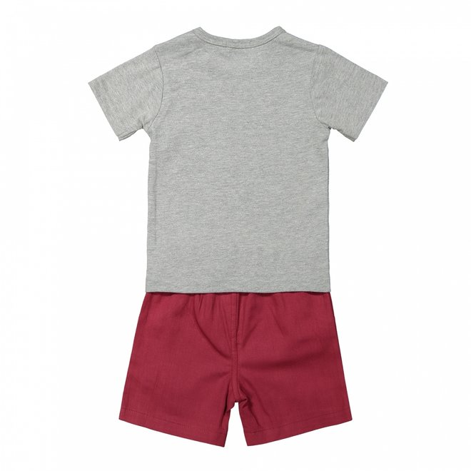 Dirkje jongens 2-delige baby set grijs rood