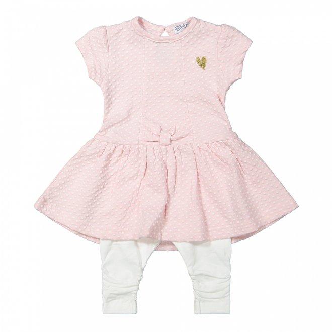 Dirkje meisjes babyjurkje 2-delig roze en wit stip