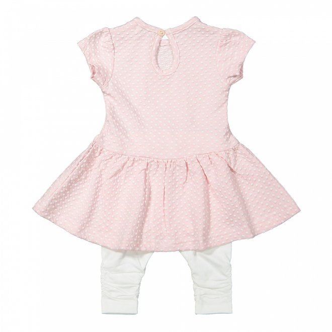 Dirkje girls baby dress 2 piece pink and white dot