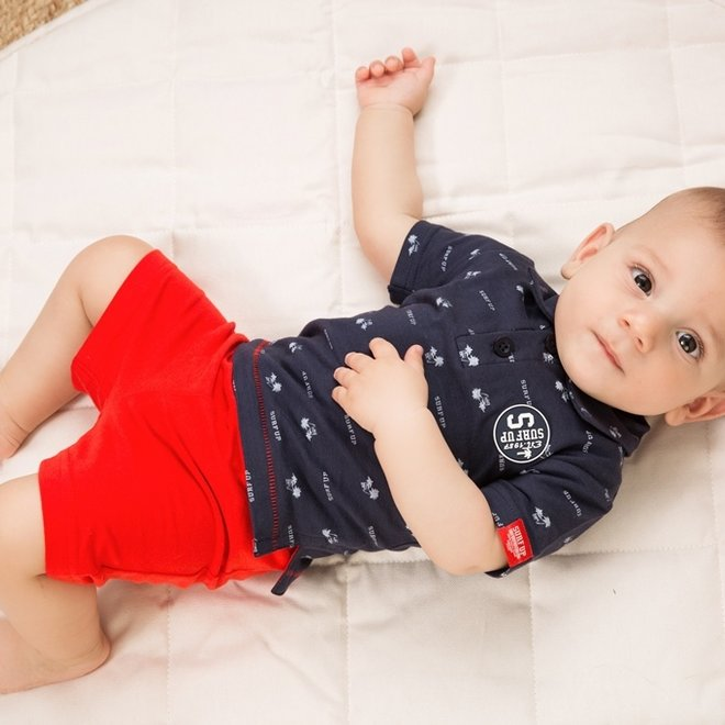 Dirkje boys baby 2-piece set with shorts and polo shirt