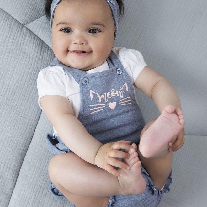 Dirkje baby meisjes 2-delig setje jumpsuit lichtblauw rushes