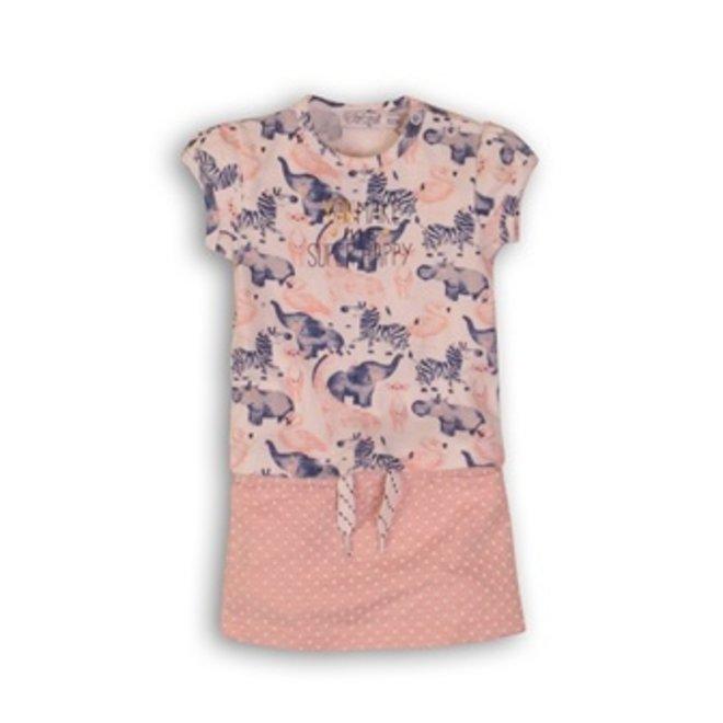 Dirkje girls 2-piece baby set T-shirt + skirt light pink with animals
