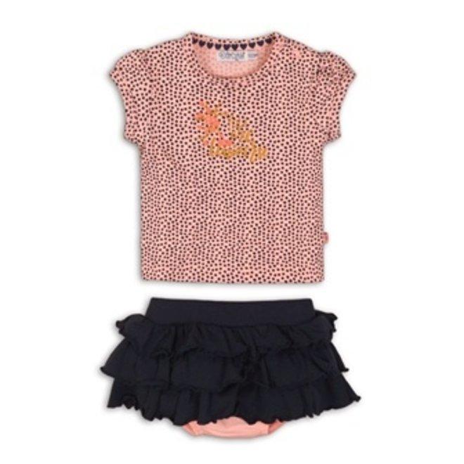 Dirkje Mädchen Baby 2-teiliges Set rosa T-Shirt mit blauen Binsen Rock