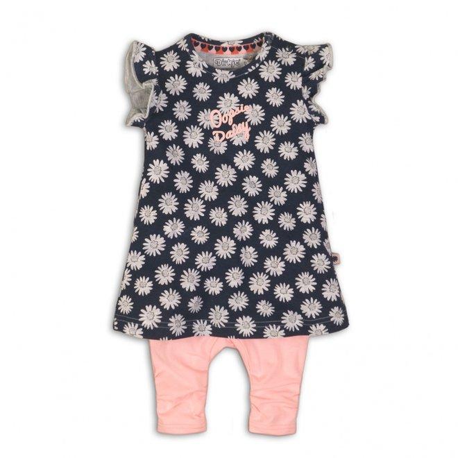 Dirkje Mädchen Baby 2-teiliges Set dunkelblau Kleid mit rosa Leggings