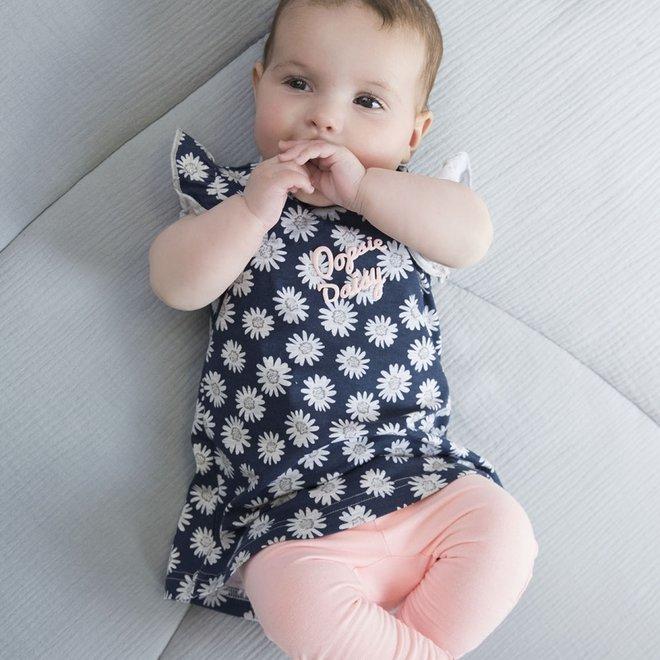 Dirkje girls baby 2-piece set dark blue dress with pink leggings