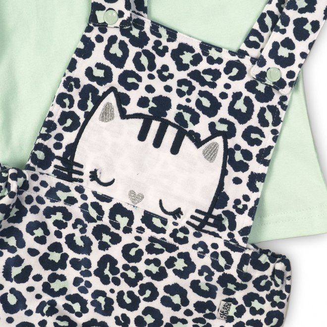 Dirkje girls baby 2-piece set panther print jumpsuit with T-shirt