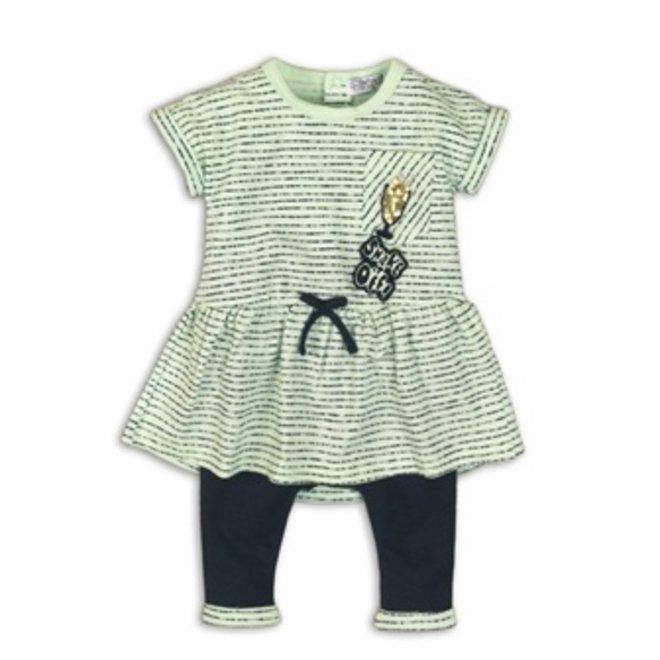 Dirkje girls baby 2-piece set mint green blue dress with legging