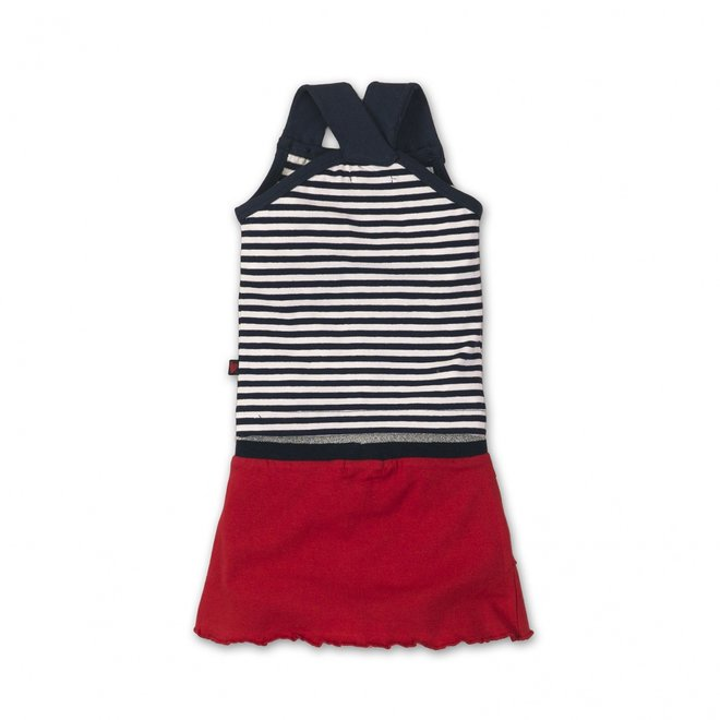 Dirkje girls baby 2-piece set blue white striped with red skirt