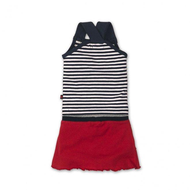 Dirkje meisjes baby 2-delig setje blauw wit gestreept met rood rokje