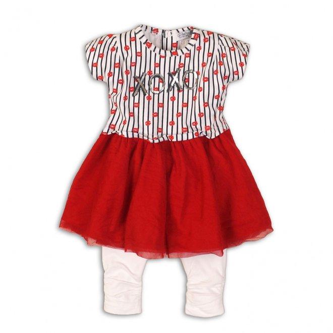 Dirkje Mädchen Baby 2-teiliges Set rot weißes Kleid mit Leggings