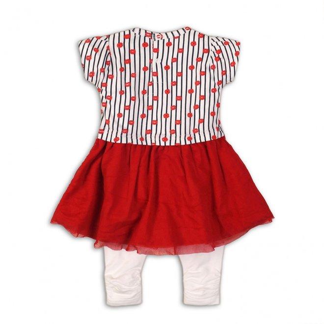 Dirkje girls baby 2-piece set red white dress with legging