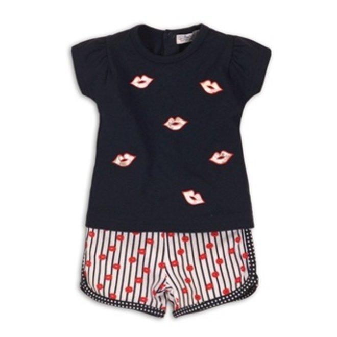 Dirkje meisjes baby 2-delig setje blauw T-shirt met shorts kusjes