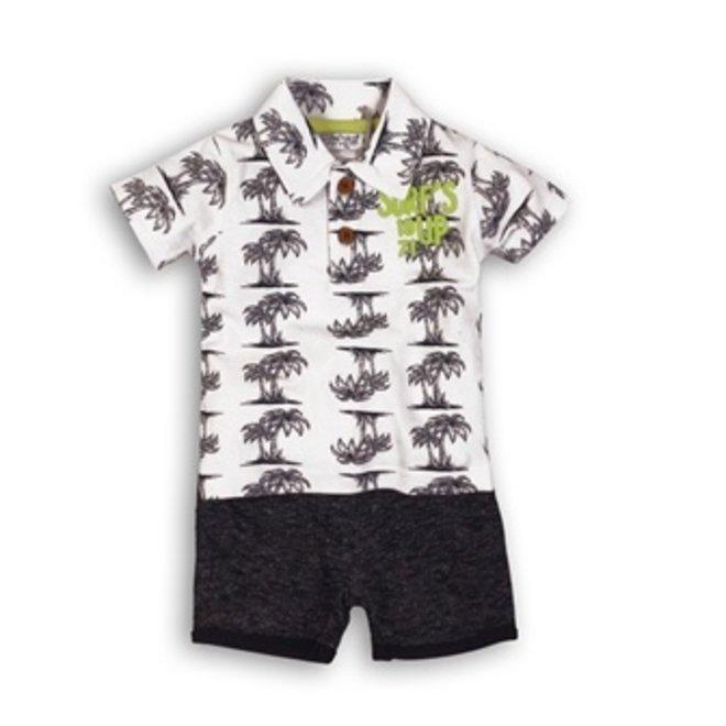 Dirkje Jungen Baby 2-teiliges Set Palm Print Polo mit blauen Shorts