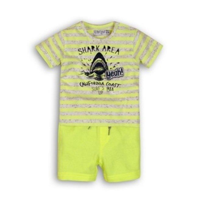 Dirkje Jungen Baby 2 Stück Set neongelb Haie T-Shirt mit Shorts