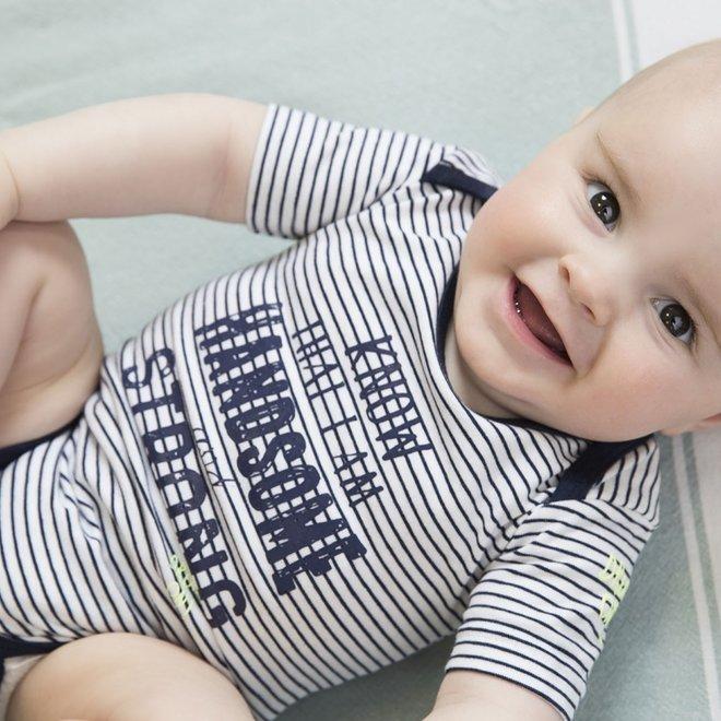 Dirkje Jungen Baby Bodysuit blau und weiß gestreift