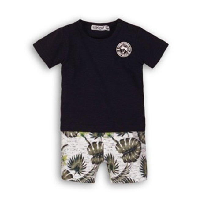 Dirkje Jungen Baby 2 Stück Set blau T-shirt mit Palme drucken Shorts