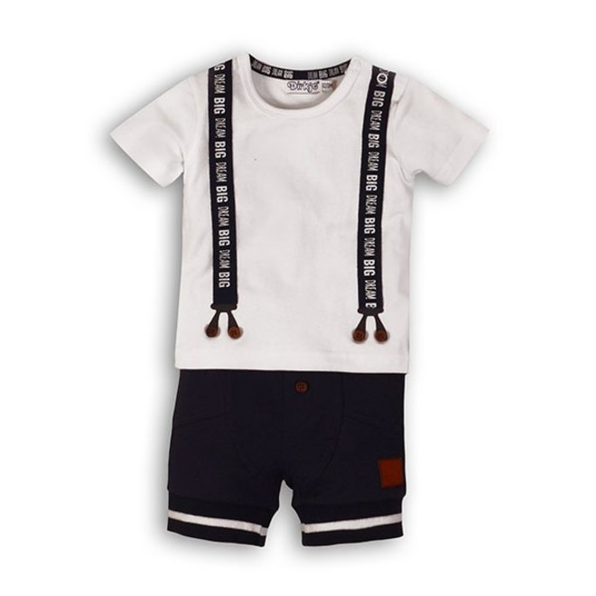 Dirkje jongens baby 2-delig setje T-shirt bretels + blauw kort broekje