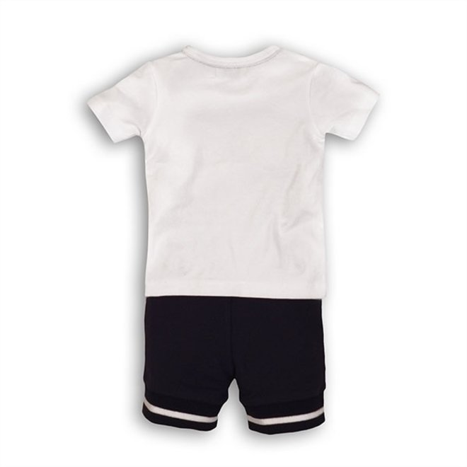 Dirkje jongens baby 2-delig setje wit T-shirt bretels en blauw broekje
