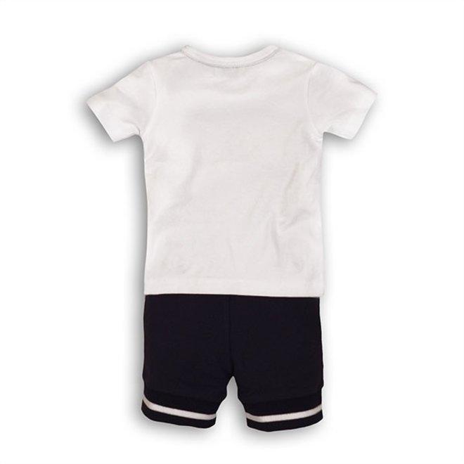 Dirkje Jungen Baby 2 Stück Set weißes T-Shirt Hosenträger und blaue Shorts