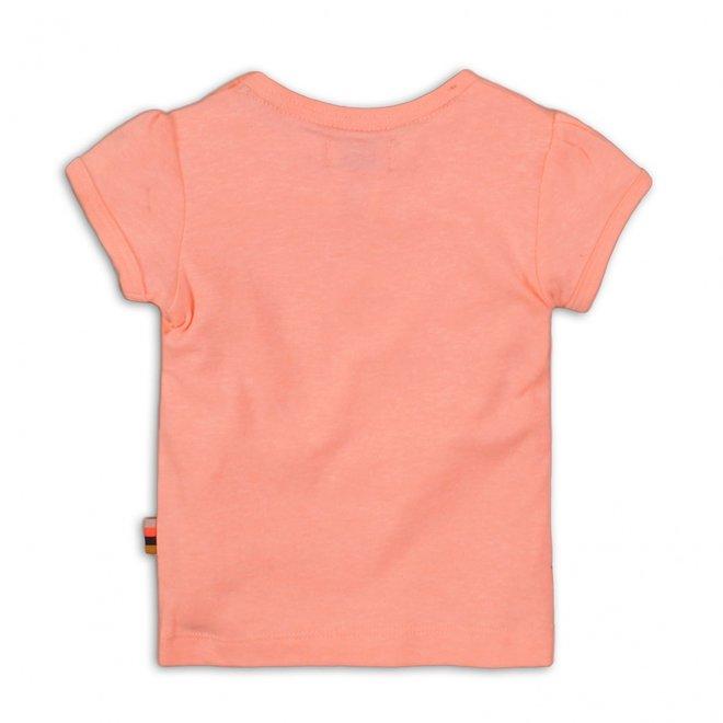 Dirkje girls T-shirt coral pink silver print