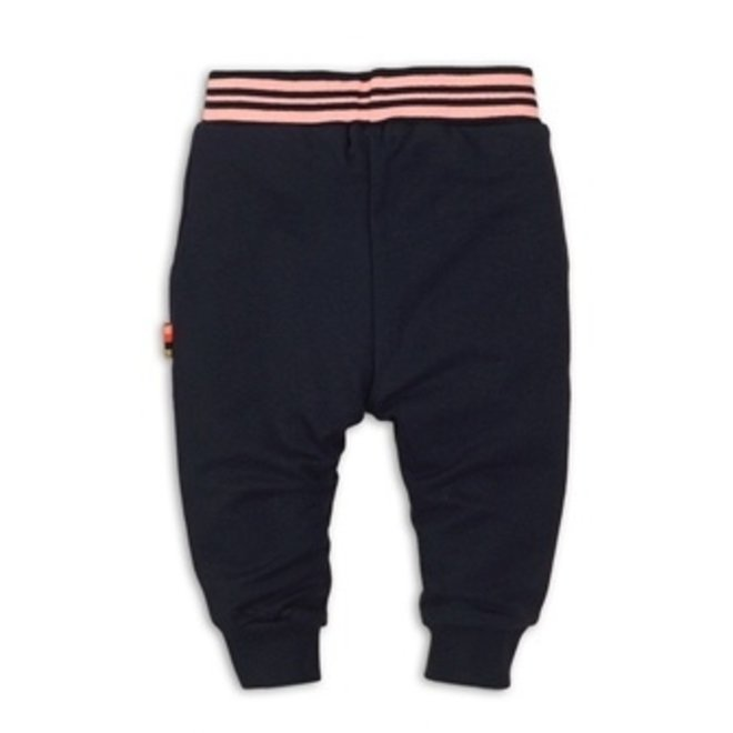 Dirkje girls dark blue jogging trousers with coral pink band