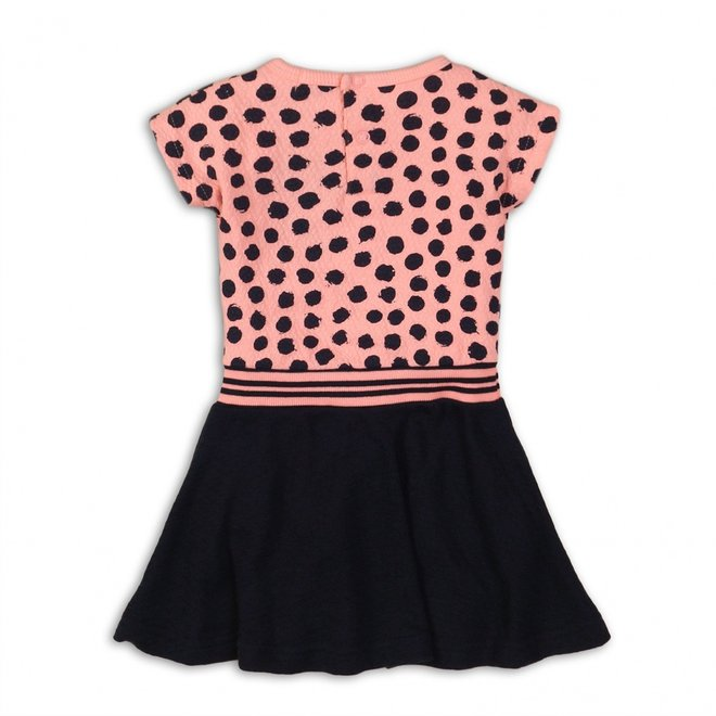Dirkje girls dress light coral pink dots top with dark blue skirt