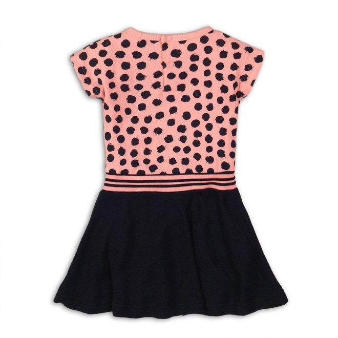 Dirkje meisjes jurk licht koraal roze stippen top met donkerblauwe rok