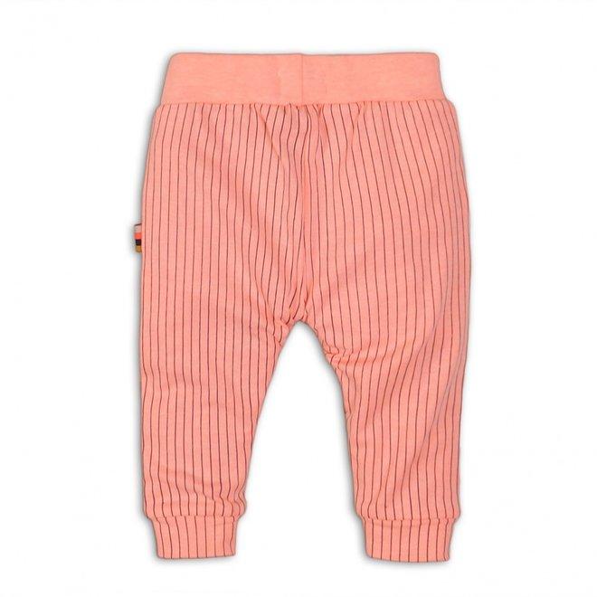 Dirkje girls summer trousers light coral pink with stripe