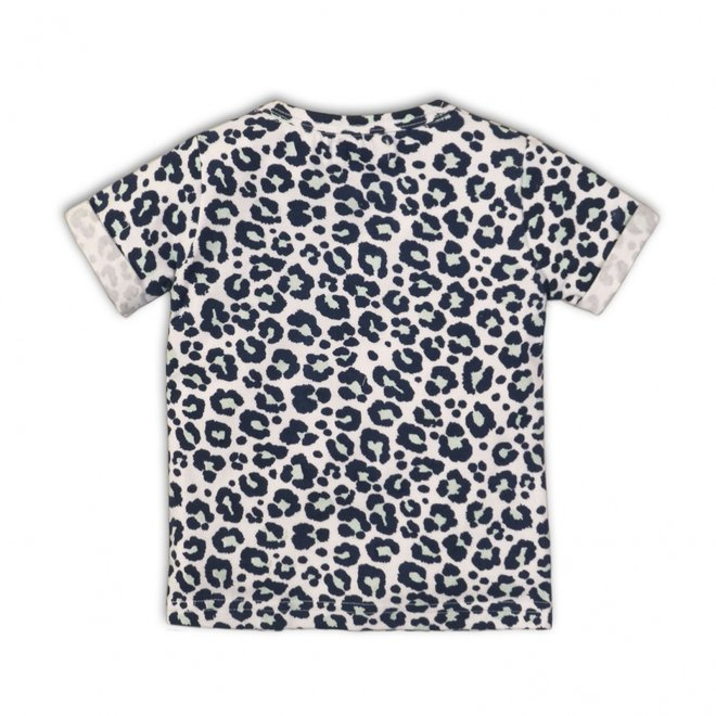 Dirkje girls T-shirt white blue all-over panther print
