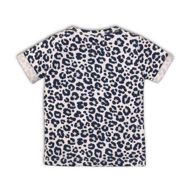 Dirkje meisjes T-shirt wit blauwe all-over panterprint