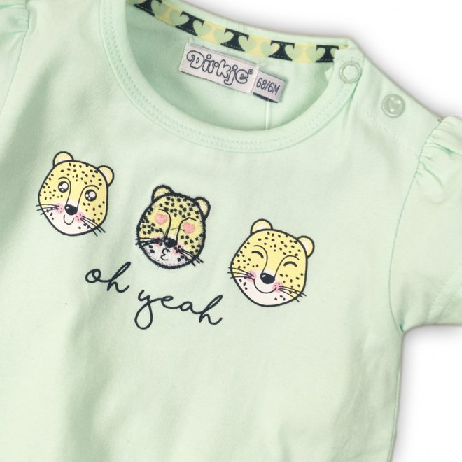 Dirkje girls T-shirt mint green with panther faces