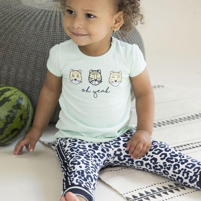 Dirkje Mädchen T-shirt mintgrün mit Panther Gesichter