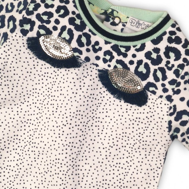 Dirkje girls white with mint and blue dress with eyes and eyelashes panther print