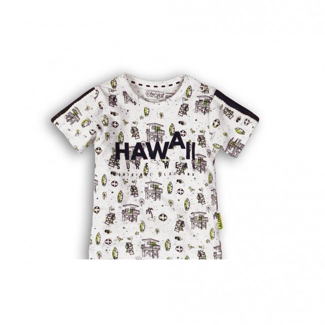 Dirkje boys baby white blue neon yellow Hawaii surf print T-shirt