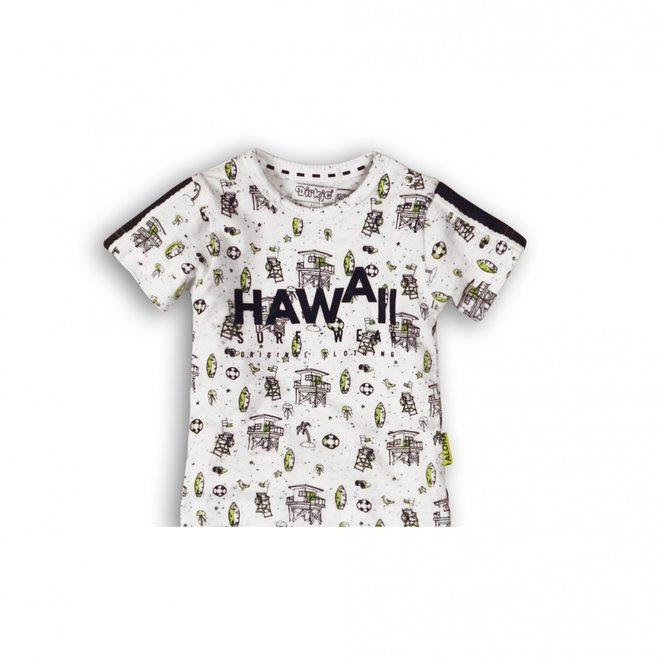 Dirkje jongens baby T-shirt wit blauw neon geel Hawaii surf  print