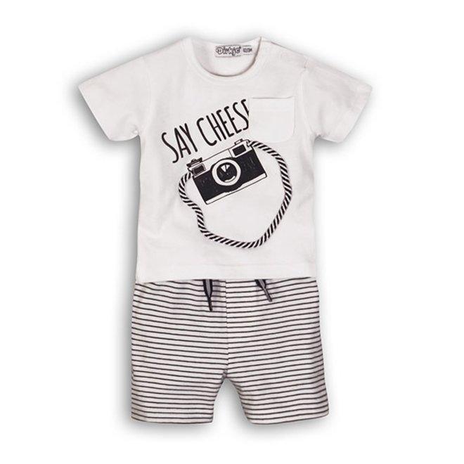 Dirkje jongens baby 2-delig setje wit blauw T-shirt met kort broekje
