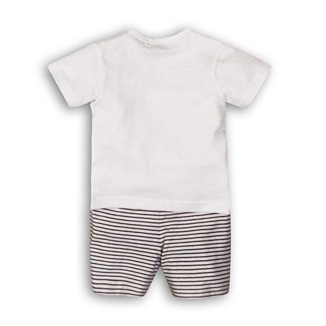 Dirkje Jungen Baby 2 Stück Set weiß blau T-shirt mit Shorts