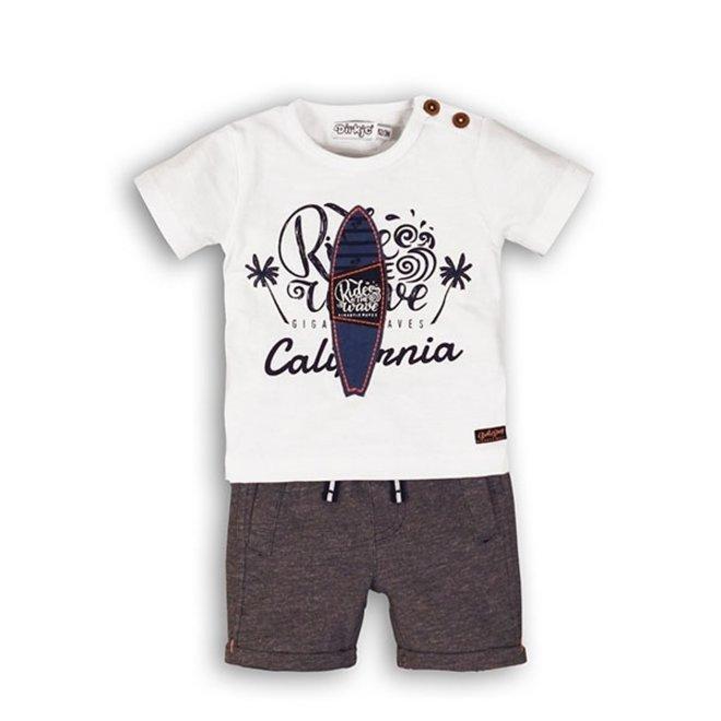 Dirkje Jungen Baby 2 Stück Set weiß blau gemischt Surfbrett T-shirt