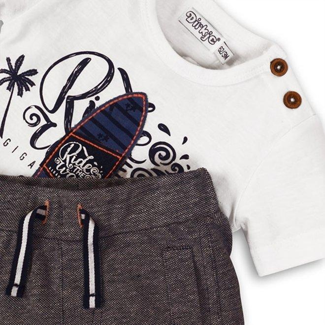 Dirkje jongens baby 2-delig setje wit blauw gemêleerd surfplank T-shirt