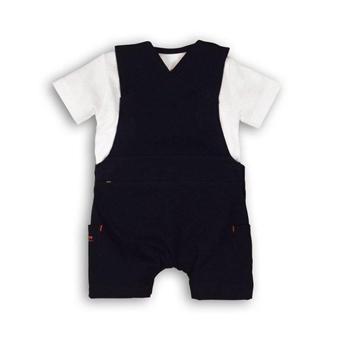 Dirkje Jungen Baby 2-teiliges Set blau kurze Latzhose mit T-Shirt
