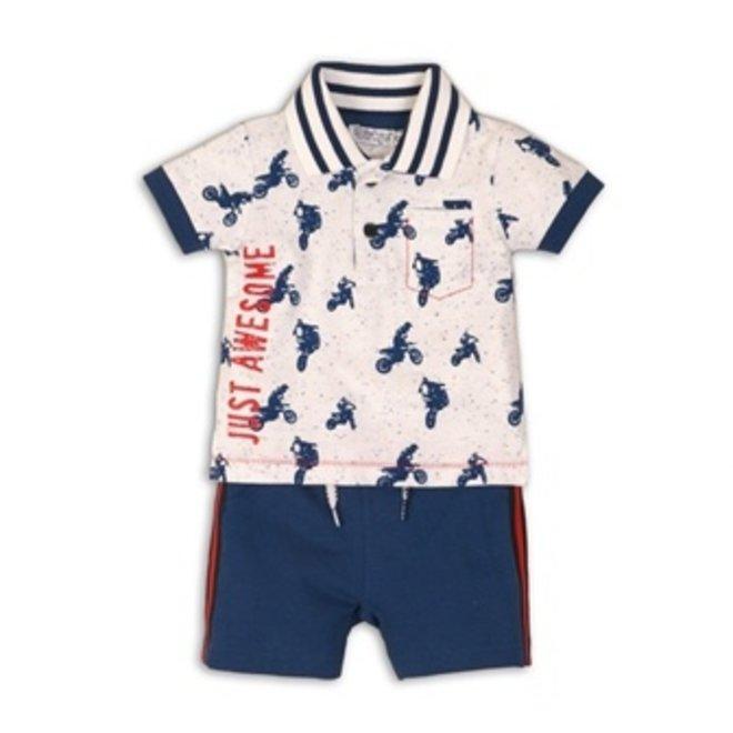 Dirkje boys baby 2-piece set white polo motor blue short trousers