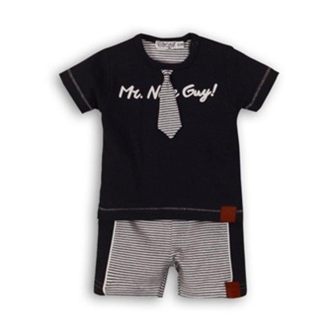 Dirkje Jungen Baby 2-teiliges Set blau und weiß gestreift mit Krawatte