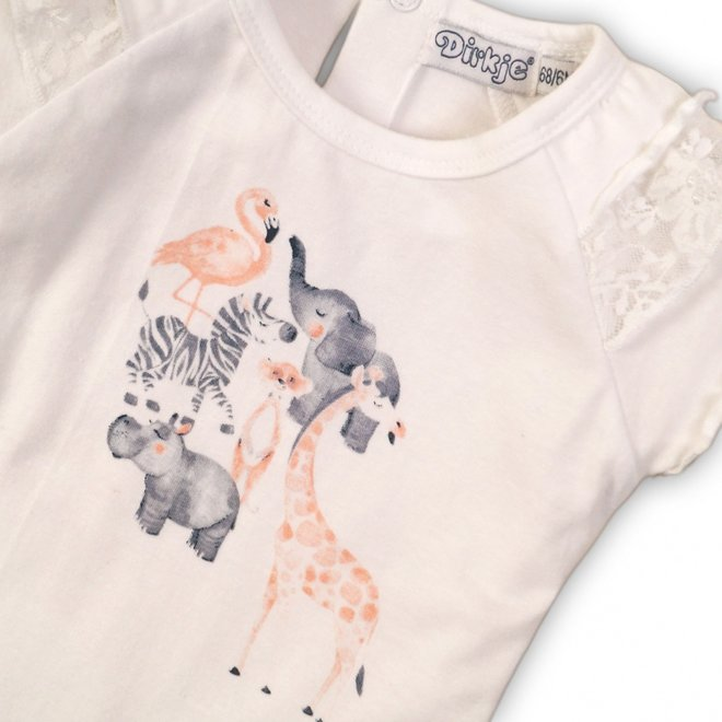 Dirkje girls T-shirt white with animal print and lace on sleeves