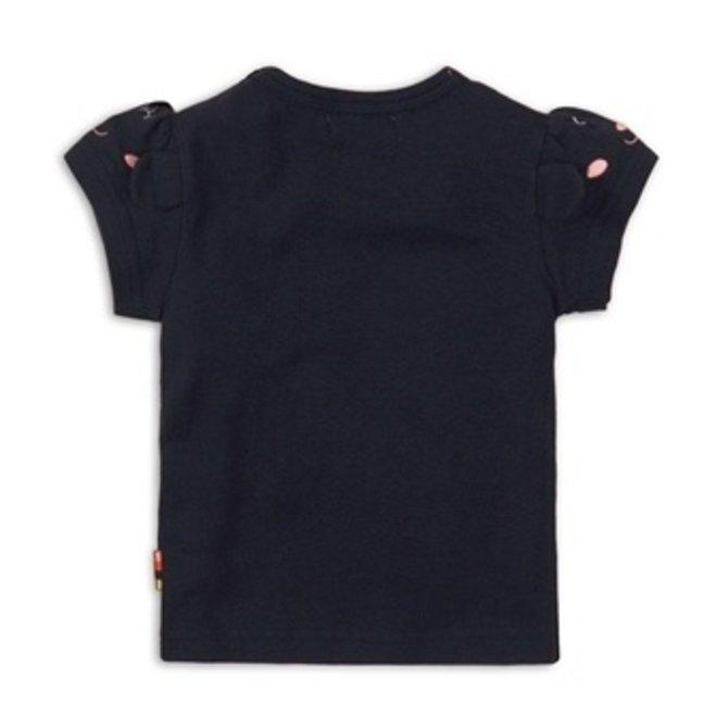 Dirkje girls T-shirt dark blue with rainbow and puff sleeves