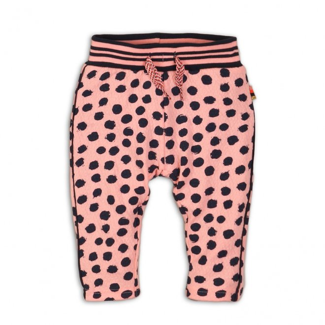Dirkje girls summer trousers light coral pink with blue dots