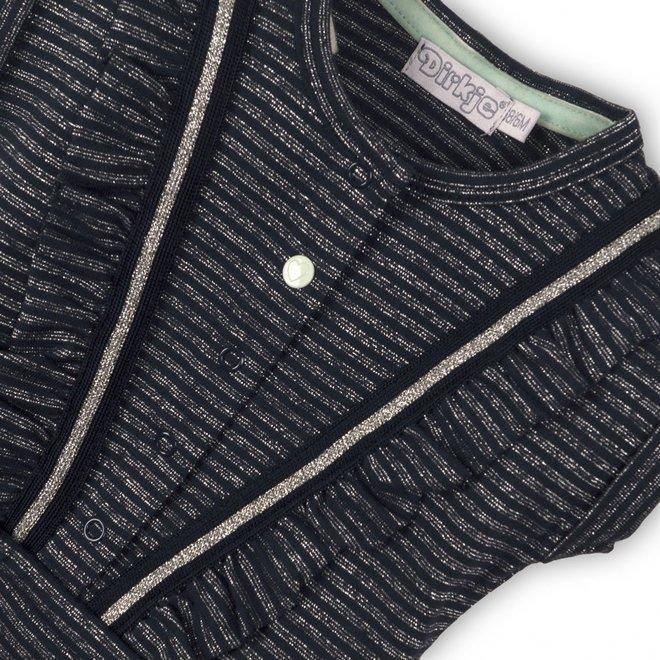 Dirkjes meisjes jumpsuit donkerblauw met zilveren glitter streep