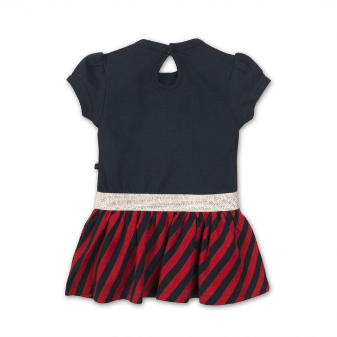 Dirkje girls dress dark blue red striped with silver details