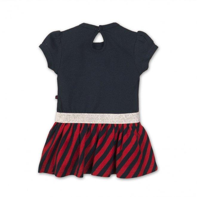 Dirkje meisjes jurkje donkerblauw rood gestreept met zilveren details