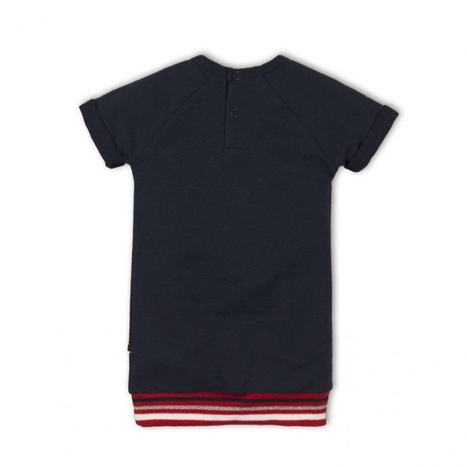 Dirkje meisjes jogging jurk donkerblauw met elastische boord